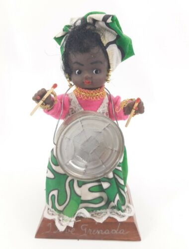 """Vintage Handmade Doll on Stand Playing Drum from Grenada 8.5"""" Tall Folk Art"""