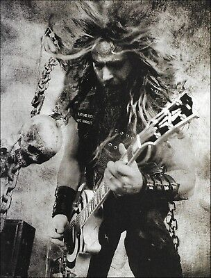 Black Label Society Zakk Wylde Gibson Les Paul Guitar 8 x 11 b/w pin-up photo for sale  Shipping to Canada