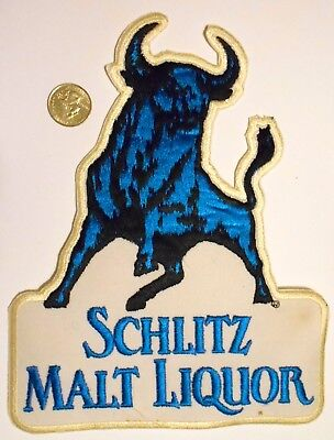 "Schlitz Malt liquor Embroidered Patch 9-1/4""  inches Beer Ale Vintage Bull"