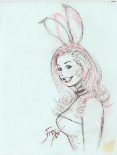 Playboy Artist Doug Sneyd Signed Original Art Illustration Sketch ~ Bunny Prelim