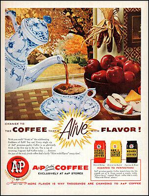 1956 A&P Stores 8 O'clock Coffe kitchen window autumn retro photo print ad L73