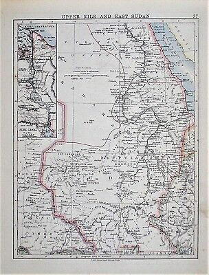 OLD ANTIQUE MAP EGYPT NILE SUEZ CANAL SUDAN c1910 by W & A K JOHNSTON