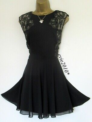 Ted Baker Dress TB 4 (UK14) Excellent Russi Black Chiffon Lace Sparkle Sequins