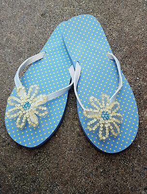 Blue Polka Dotted Novelty Flip Flops White Daisy Sequin Flower Women's 5-6 Sequin Flower Flip Flops