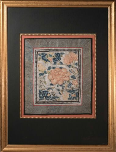 Antique Chinese Silk Embroidered Textile, Blue, Red & White Flowers, Phenomenal!