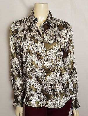 Antilia Femme Stretch Professional Green And White Blouse Size Medium