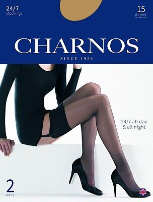 CHARNOS 24/7 STOCKINGS 15 DEN reinforce toe 2 pair pack sheer, smooth ()