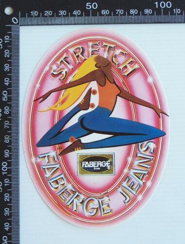 VINTAGE FABERGE STRETCH JEANS AUSTRALIA SOUVENIR ADVERTISING SHOP PROMO STICKER