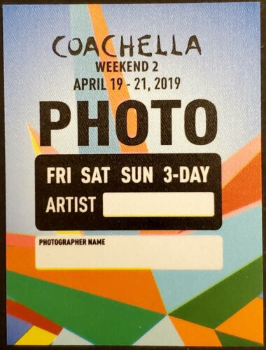 * COACHELLA * - 2019 SATIN BACKSTAGE PASS - PHOTO - BILLIE EILISH, DIPLO, KHALID