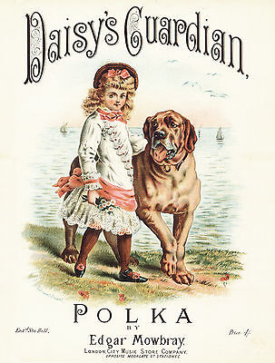 MASTIFF DAISY AND DOG OLD SHEET MUSIC IMAGE ON LOVELY GREETINGS NOTE CARD