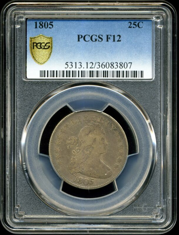 1805 25C Draped Bust Quarter Dollar F12 PCGS 36083807