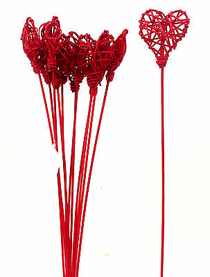 Vine Heart Pick Bundle. Set of 12 Stems. Red. 18
