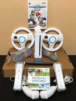 Nintendo Wii Console Bundle-Mario Kart Wii Sports Wheels 2 Controllers-FREE SHIP