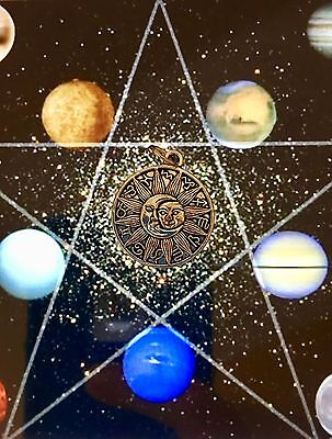 Vedic Sun Moon & Stars Pendant - Good Luck Money Power Love Long Life - Blessed