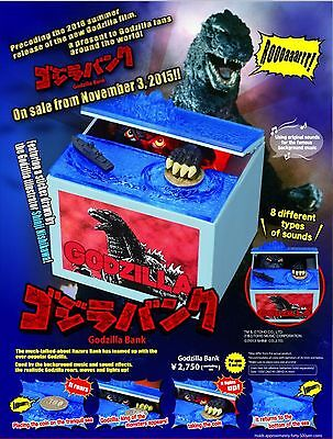 Godzilla Musical Monster Moving Electronic Coin Money Piggy Bank Box Japan Ver