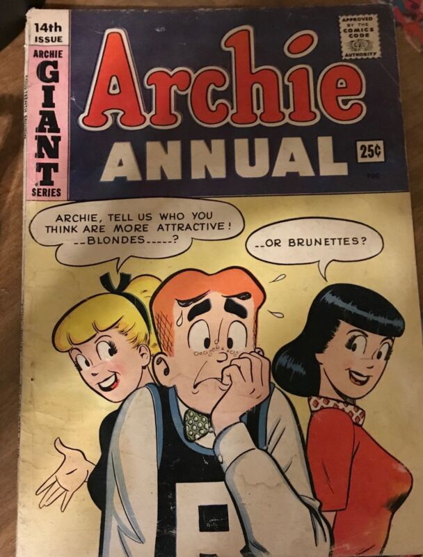 Archie Annual #14 1963- Betty & Veronica Iconic Cover VeryGood Overall Condition