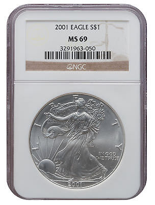 2001 MS69 1oz American Silver Eagle Brown Label NGC