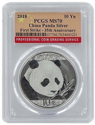 2018 China 10 Yuan Silver Panda PCGS MS70 - First Strike - Flag Label