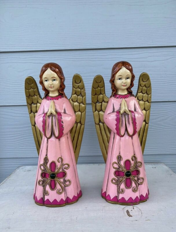 "2 Mid Century Composite Paper Mache  Christmas Angels Pink & Gold 12"" Figurines"