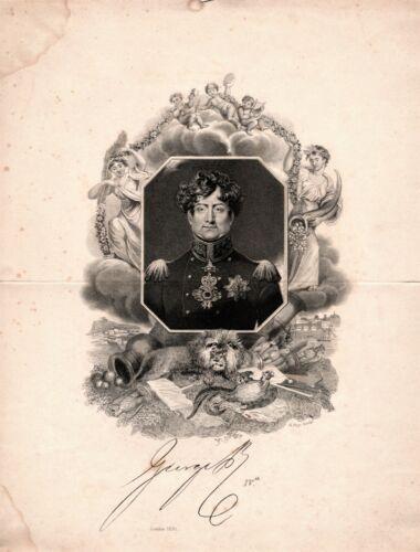 GEORGE IV British King large memorial engraving by R. Page, 1830
