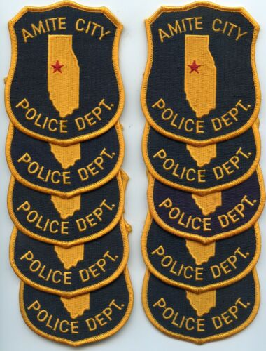 AMITE CITY LOUISIANA Patch Lot Trade Stock 10 Police Patches POLICE PATCH