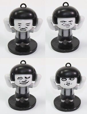 2.5 Tall Monochrome Mushroom Head Man With 4 Facial Expressions Office Desk Toy