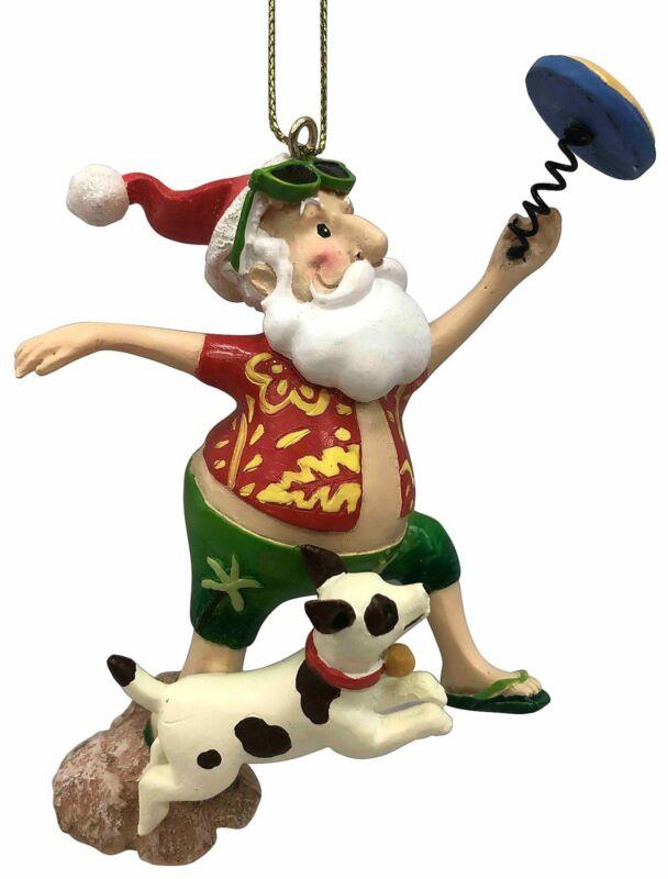 Brighten the Season Santa Frisbee & Dog Ornament One Size Red/green