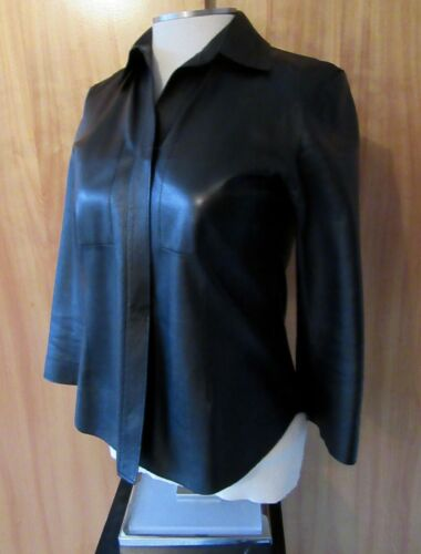 DKNY Leather 2 Hook Fitted Black Jacket 3/4 Sleeve Quality Pockets Size 4 S EUC
