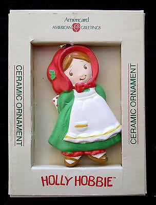 CHRISTMAS CERAMIC HOLLY HOBBIE BY AMERICARD 1980'S - 3-1/2 X 2-1/2