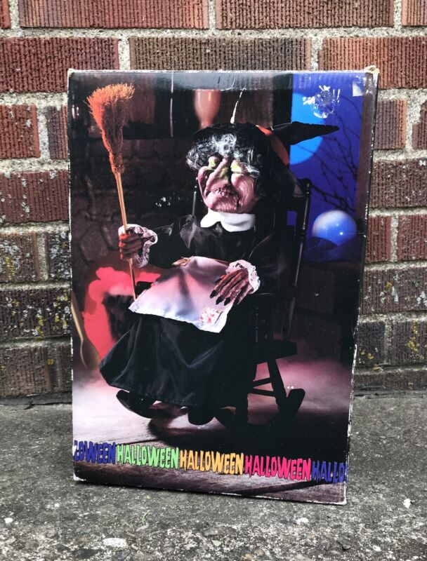"""Vintage 1980s Animated 16"""" Rocking Witch Halloween Decoration"""