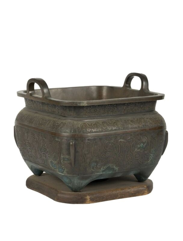 "Large 19th Century Chinese Ceremony Bronze Censer, 11 1/2"" X 12 1/2"""