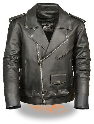 Classic Side Lace Motorcycle Jacket - Men's Classic Motorcycle Biker Side Lace Police Leather Jacket W/Zip Out Liner