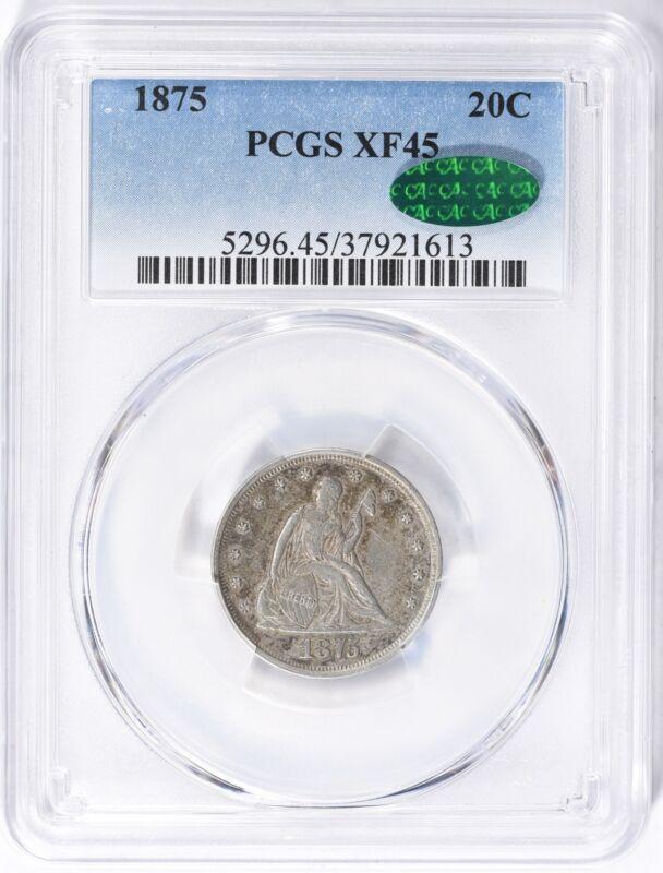 PCGS XF45 - 1875 Twenty-Cent Piece CAC (198)