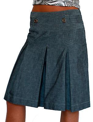 Neu Damen Boutique Faltenröcke Blau Jeans Hosen Hosenrock Größe 36 38 40 42 44