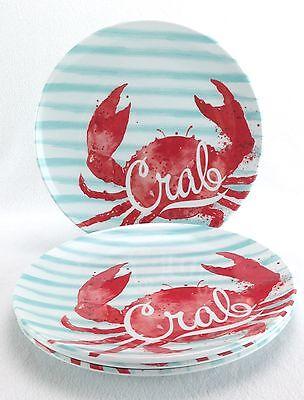 Crab Appetizer Plates Set Of 4 Nautical Ocean Melamine New Red Green White