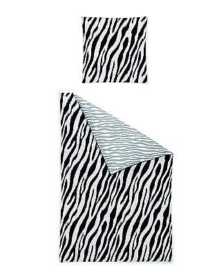 Irisette WENDE Mako Satin Bettwäsche 4 tlg RV 135x200 Afrika Zebra schwarz weiß
