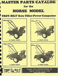 Troy Bilt Horse Tiller Parts Manual 1980