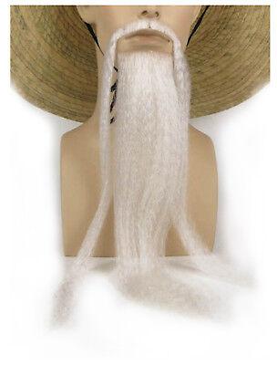 Fu Manchu Chinese Mustache Beard Kung Fu Man Chu White + GLUE