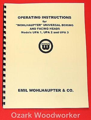 Wohlhaupter Boring Facing Heads Upa 1upa 2upa 3 Instructions Manual 1056