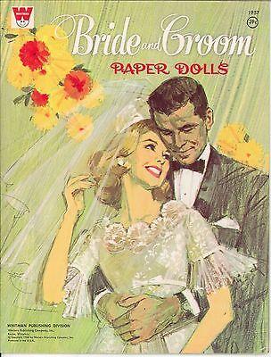 VINTAGE UNCUT 1960S BRIDE & GROOM PAPER DOLLS ~SAALFEILD~ORG SZ~LASR REPRODUCTIO