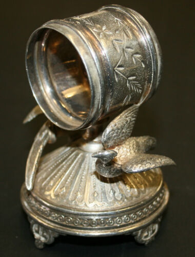Silver Plated Figural Napkin Ring Pheasants Under Ring On Pedestal Meriden #271