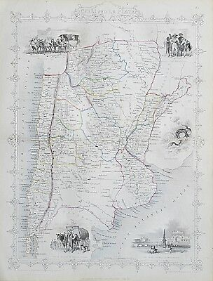 c1854 CHILI & LA PLATA CHILE Genuine Antique Map by Rapkin