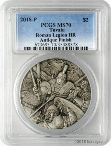 2018 Tuvalu Warfare Roman Legion 2 oz Silver Antique High Relief Coin PCGS MS70