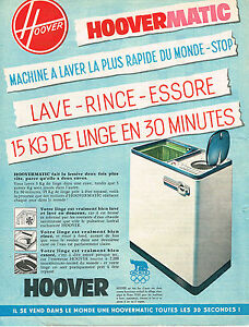 publicite advertising 1960 hoover lave linge machine laver ebay. Black Bedroom Furniture Sets. Home Design Ideas
