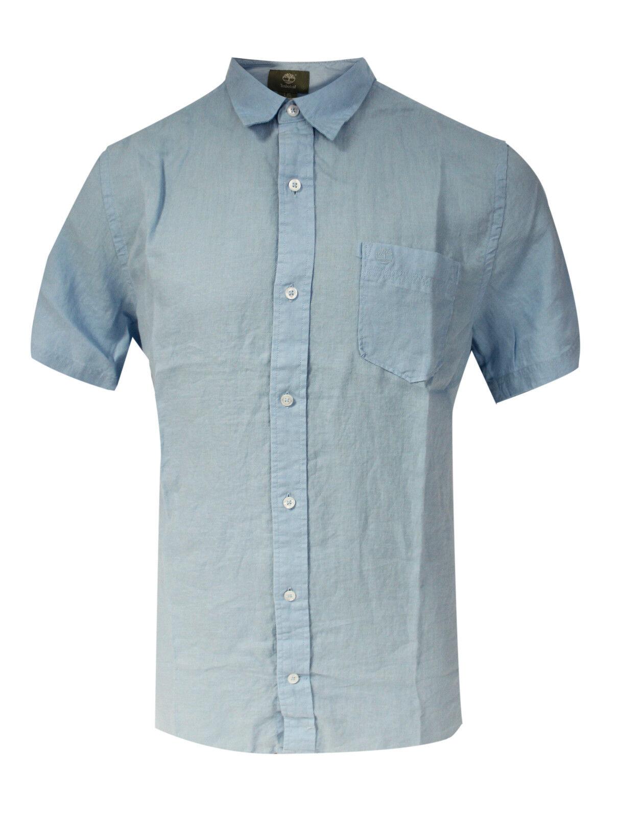 Timberland short sleeve mens light blue linen shirt summer for Mens light blue linen shirt