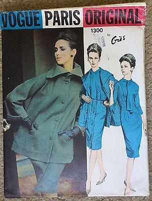 Vintage Uncut 1960's Vogue Paris Original Gres Sewing Dress Coat Pattern #1300