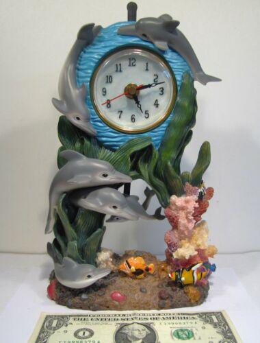 Dolphin Clock Pendulum Fish Coral Polyresin Shelf Display