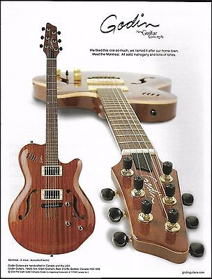 Godin Montreal 2 Voice Acoustic/Electric Guitar ad 8 x 11 advertisement print