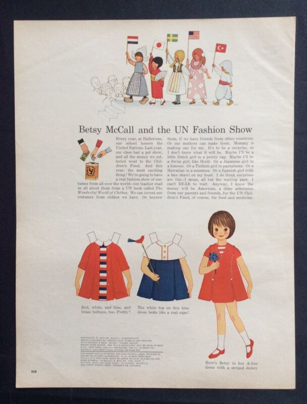 Vintage Betsy McCall Mag. Paper Doll, Betsy McCall's UN Fashion Show, Oct. 1963