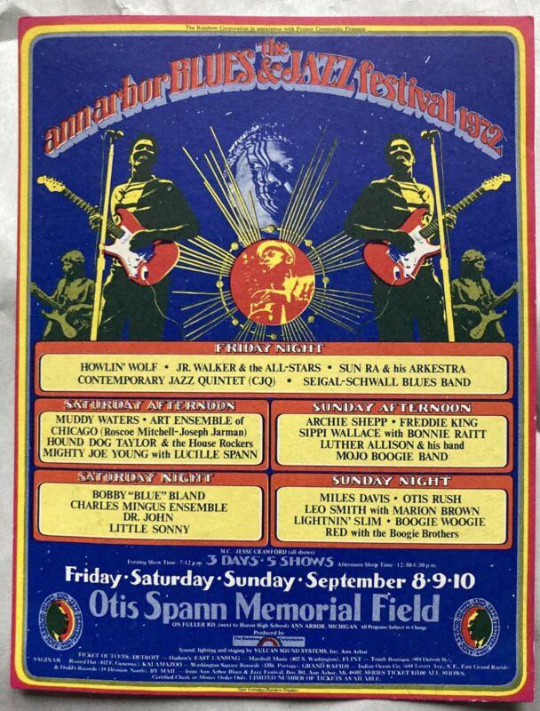 Vtg Ann Arbor Jazz and Blues Festival Postcard Gary Grimshaw 1972 Miles Davis
